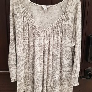 Lucky Brand Womens Floral Long Sleeve Blouse XL